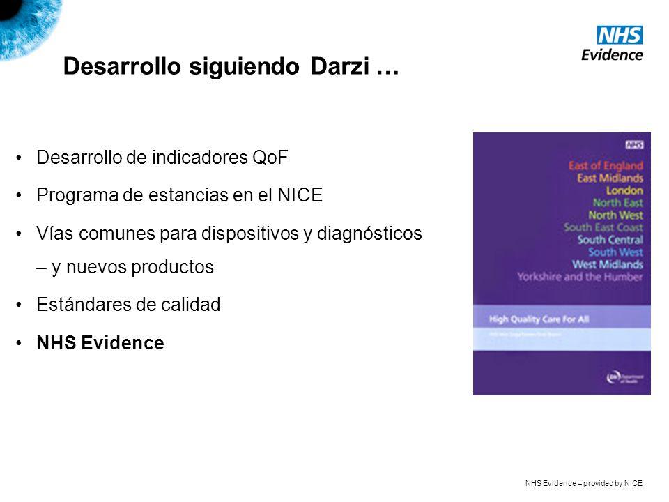 NHS Evidence – provided by NICE Desarrollo siguiendo Darzi … Desarrollo de indicadores QoF Programa de estancias en el NICE Vías comunes para dispositivos y diagnósticos – y nuevos productos Estándares de calidad NHS Evidence