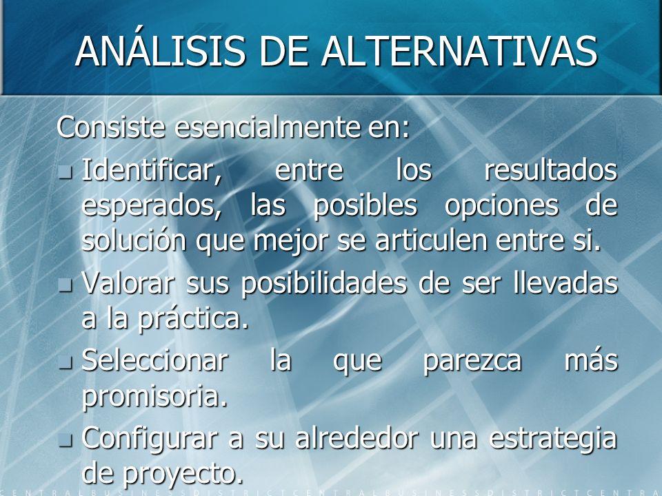 ANÁLISIS DE ALTERNATIVAS Consiste esencialmente en: Identificar, entre los resultados esperados, las posibles opciones de solución que mejor se articu