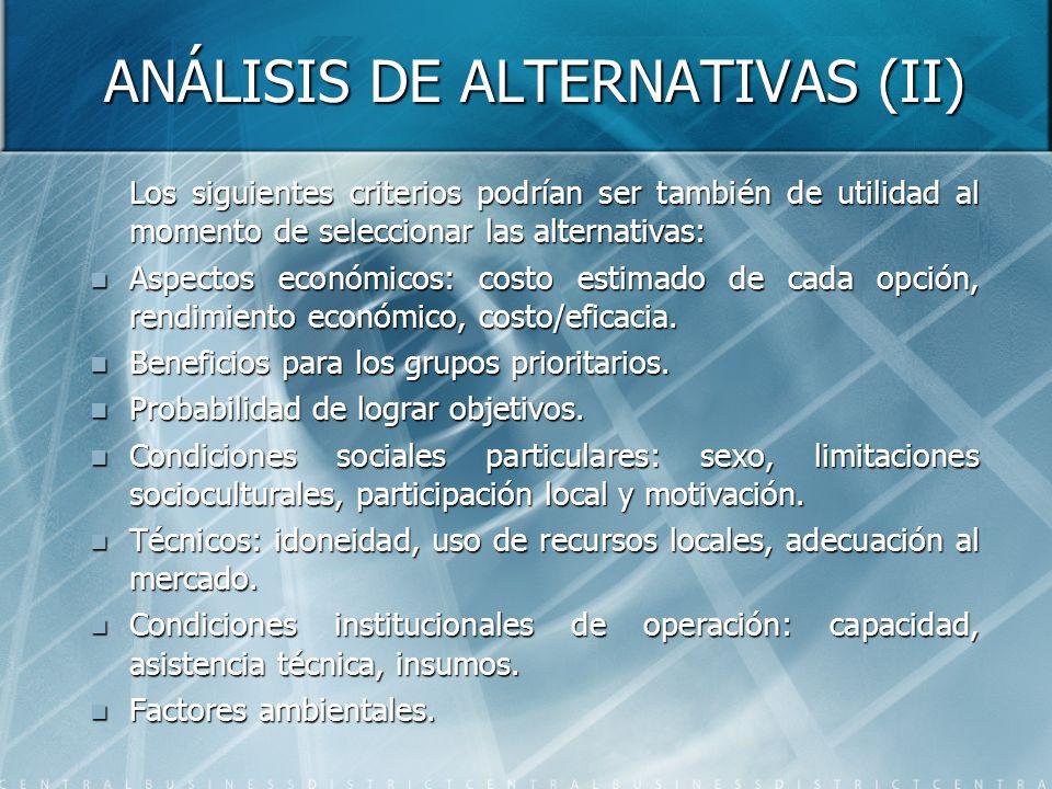 ANÁLISIS DE ALTERNATIVAS (II) Los siguientes criterios podrían ser también de utilidad al momento de seleccionar las alternativas: Aspectos económicos