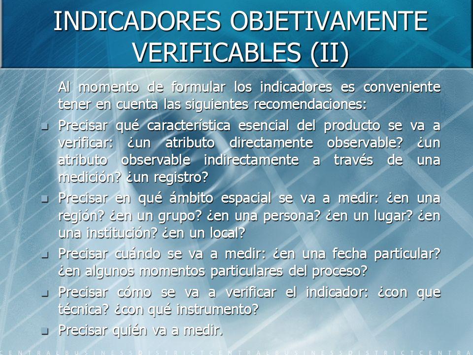 INDICADORES OBJETIVAMENTE VERIFICABLES (II) Al momento de formular los indicadores es conveniente tener en cuenta las siguientes recomendaciones: Prec