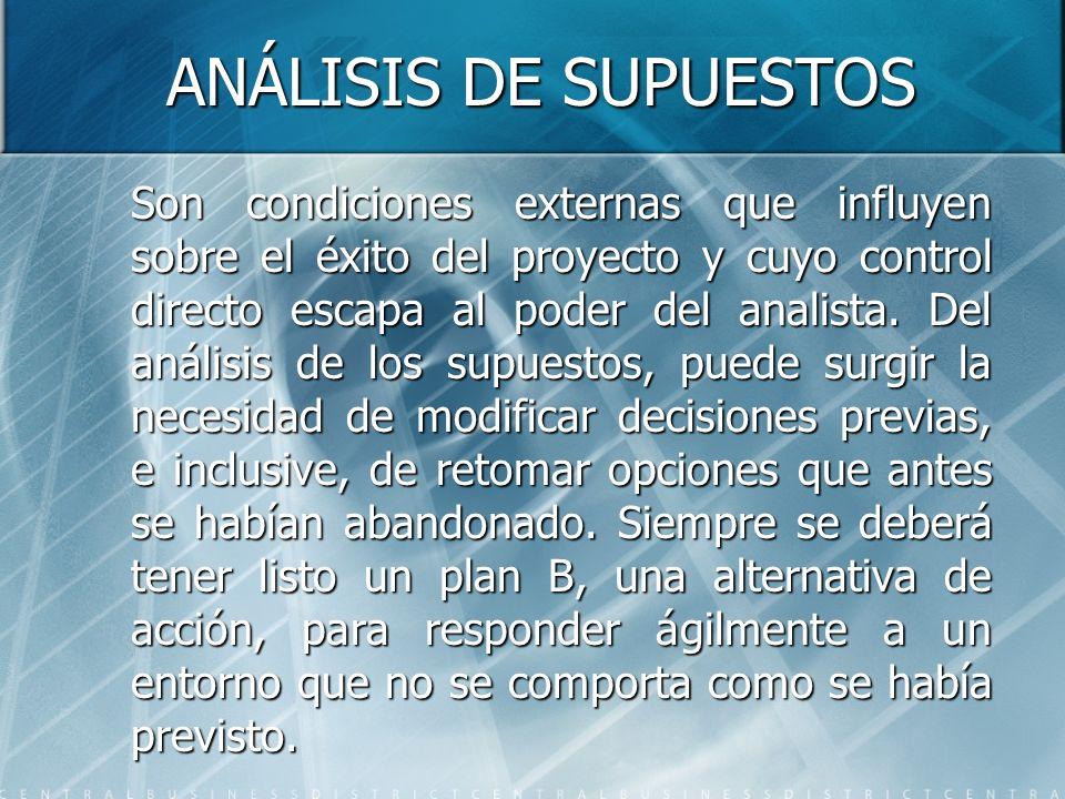 ANÁLISIS DE SUPUESTOS Son condiciones externas que influyen sobre el éxito del proyecto y cuyo control directo escapa al poder del analista. Del análi