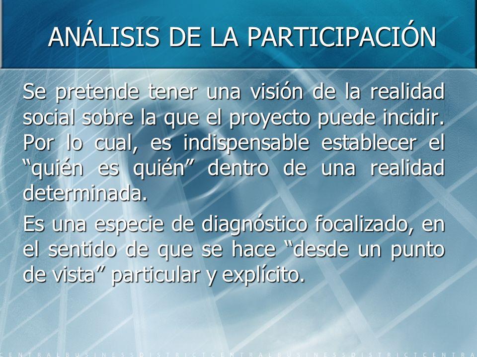 ANÁLISIS DE LA PARTICIPACIÓN Se pretende tener una visión de la realidad social sobre la que el proyecto puede incidir. Por lo cual, es indispensable