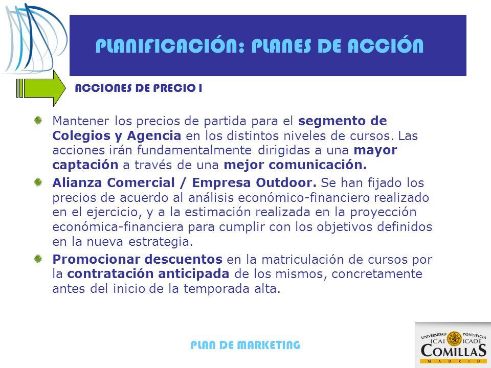 PLAN DE MARKETING PLANIFICACIÓN: PLANES DE ACCIÓN ACCIONES DE PRECIO I Mantener los precios de partida para el segmento de Colegios y Agencia en los d