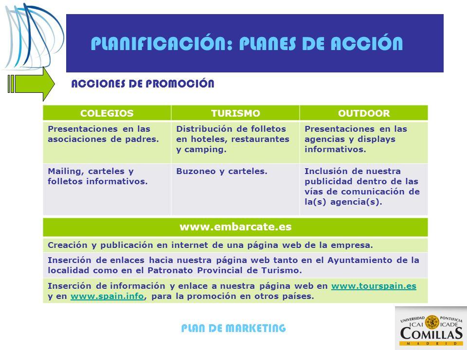PLAN DE MARKETING PLANIFICACIÓN: PLANES DE ACCIÓN ACCIONES DE PROMOCIÓN COLEGIOSTURISMOOUTDOOR Presentaciones en las asociaciones de padres. Distribuc