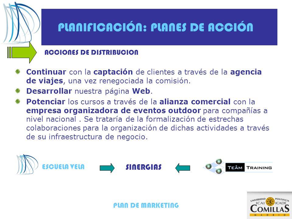 PLAN DE MARKETING PLANIFICACIÓN: PLANES DE ACCIÓN Continuar con la captación de clientes a través de la agencia de viajes, una vez renegociada la comi