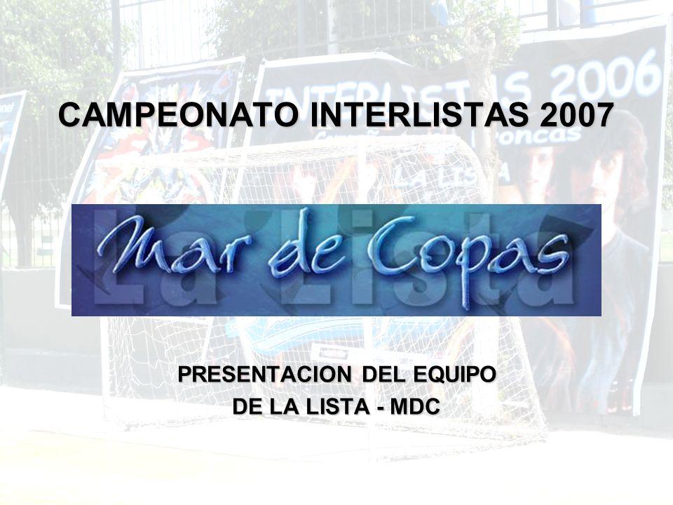 CAMPEONATO INTERLISTAS 2007 PRESENTACION DEL EQUIPO DE LA LISTA - MDC