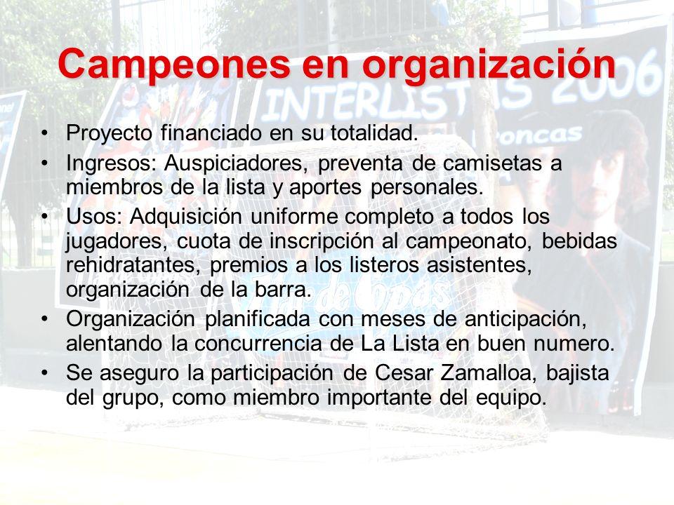 Campeones en organización Proyecto financiado en su totalidad.