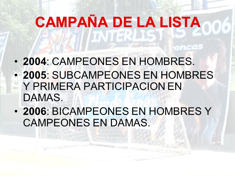 CAMPAÑA DE LA LISTA 2004: CAMPEONES EN HOMBRES.