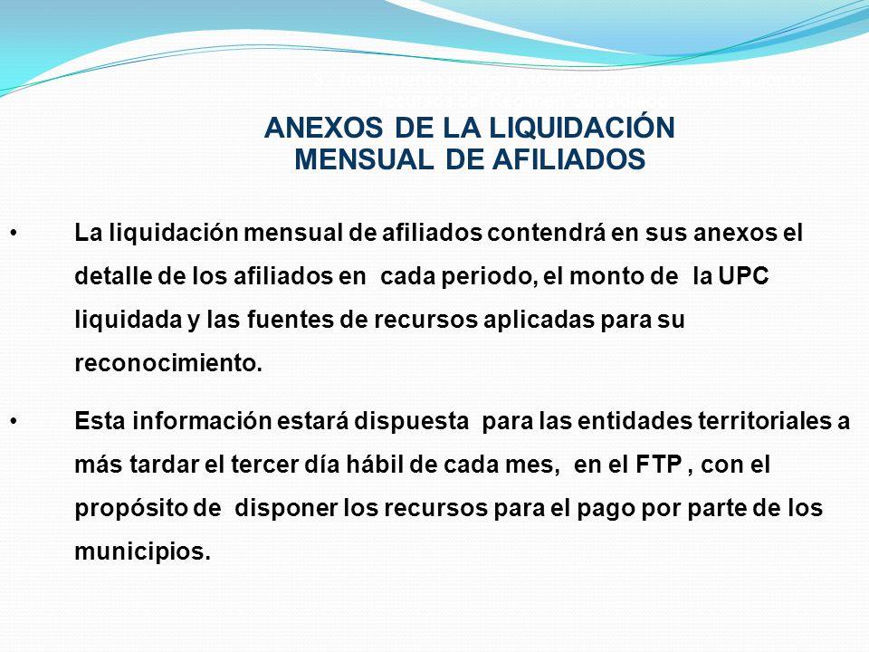 3. Instrumento jurídico y técnico para la administración de recursos del Régimen Subsidiado ANEXOS DE LA LIQUIDACIÓN MENSUAL DE AFILIADOS La liquidaci