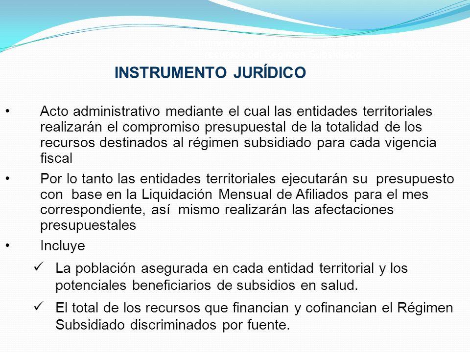 Acto administrativo mediante el cual las entidades territoriales realizarán el compromiso presupuestal de la totalidad de los recursos destinados al r