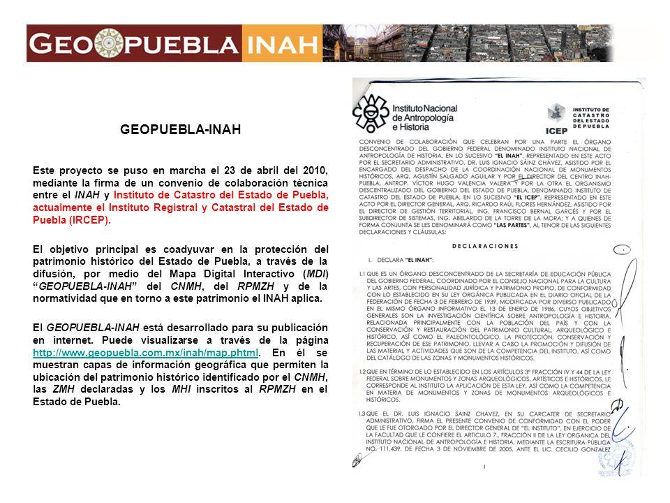CÓMO FUNCIONA La liga al GEOPUEBLA-INAH es desde la página principal del INAH http://www.inah.gob.mx/ en la sección de Ligas de Interéshttp://www.inah.gob.mx/ o en la página del ICEP http://www.ircep.gob.mx/ 1) Sección GEOPUEBLA/ 2) INICIAR GEOPUEBLA/ 3) Vínculo en logo INAHhttp://www.ircep.gob.mx/ Liga a GEOPUEBLA-INAH 1) 2) 3)
