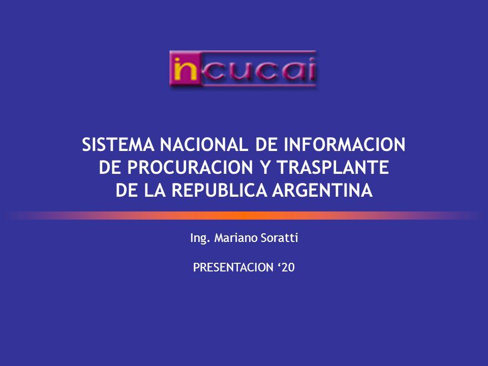 Ing. Mariano Soratti PRESENTACION 20 SISTEMA NACIONAL DE INFORMACION DE PROCURACION Y TRASPLANTE DE LA REPUBLICA ARGENTINA