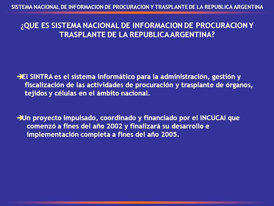 ¿QUE ES SISTEMA NACIONAL DE INFORMACION DE PROCURACION Y TRASPLANTE DE LA REPUBLICA ARGENTINA.