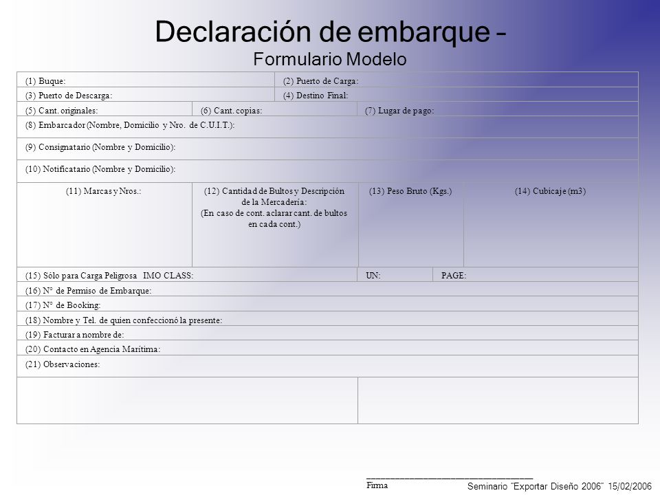 Declaración de embarque – Formulario Modelo (1) Buque:(2) Puerto de Carga: (3) Puerto de Descarga:(4) Destino Final: (5) Cant. originales:(6) Cant. co