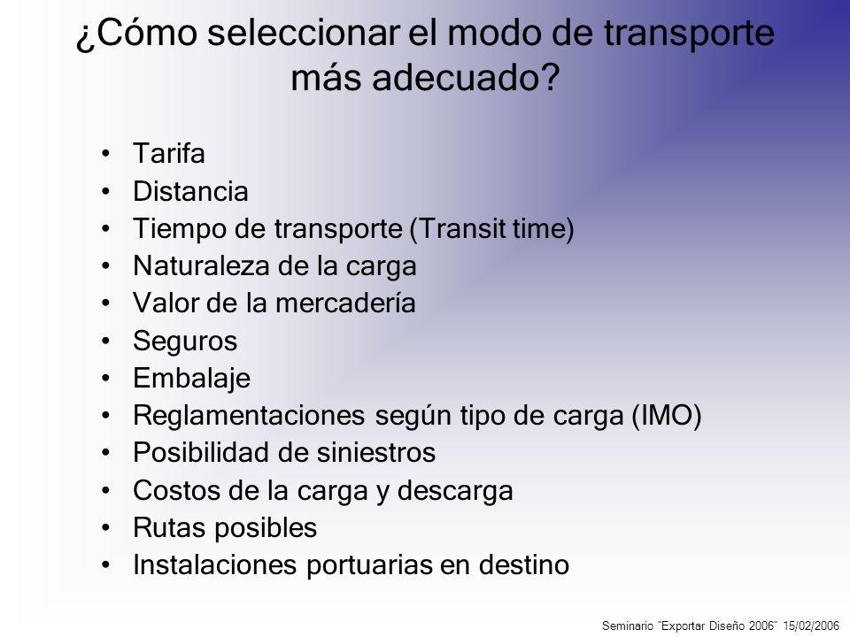 Transporte Multimodal Utilización de mínimo dos modos diferentes de porteo (acuático, aéreo, carretero o ferroviario), a través de un solo operador, que emitirá un documento único para toda la operación.