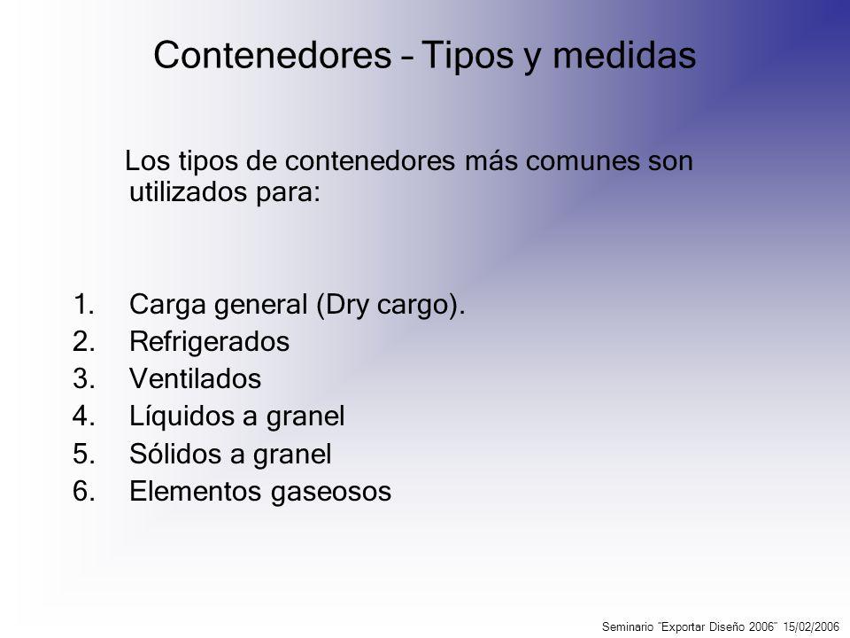 Contenedores – Tipos y medidas Seminario Exportar Diseño 2006 15/02/2006