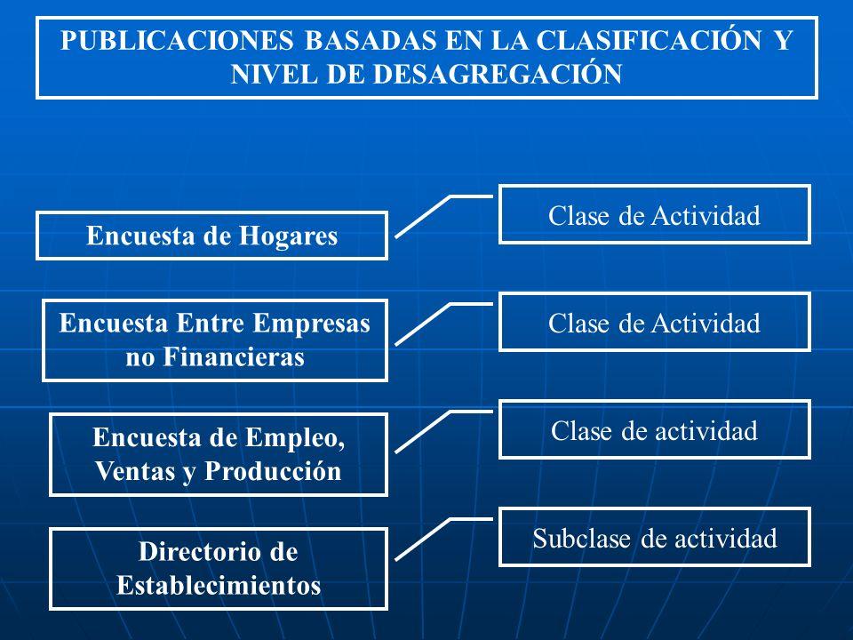 PUBLICACIONES BASADAS EN LA CLASIFICACIÓN Y NIVEL DE DESAGREGACIÓN Encuesta de Hogares Clase de Actividad Encuesta Entre Empresas no Financieras Clase