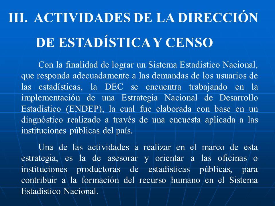 III. ACTIVIDADES DE LA DIRECCIÓN DE ESTADÍSTICA Y CENSO Con la finalidad de lograr un Sistema Estadístico Nacional, que responda adecuadamente a las d