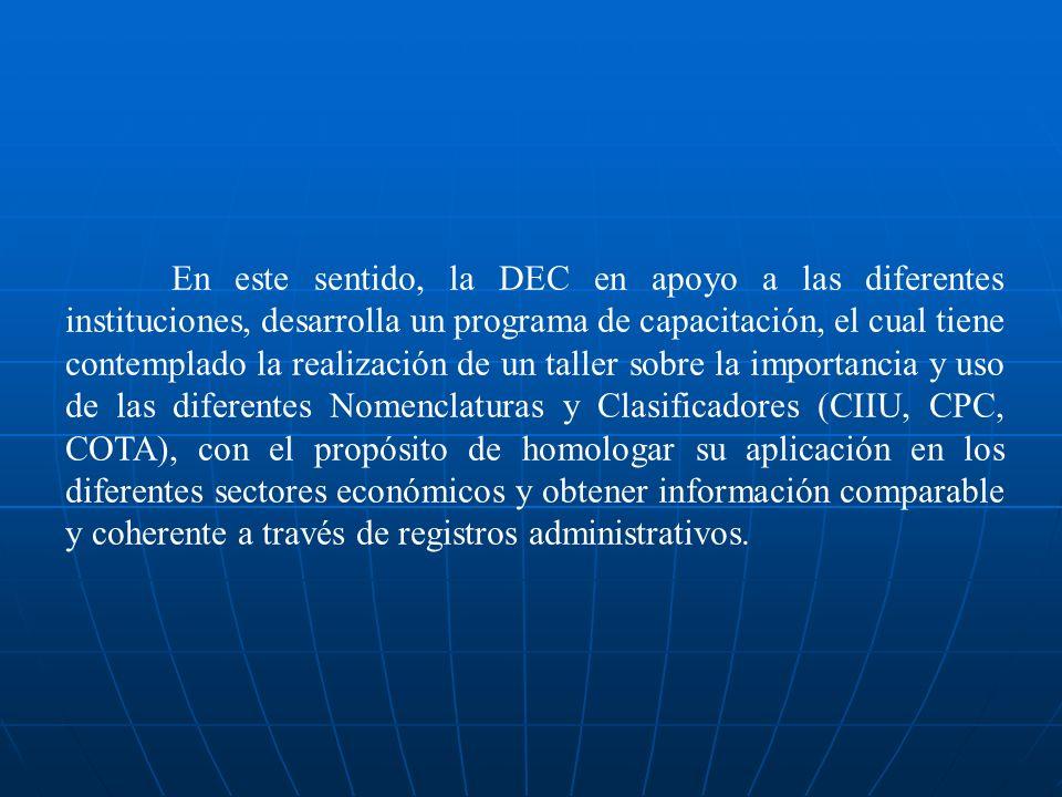 En este sentido, la DEC en apoyo a las diferentes instituciones, desarrolla un programa de capacitación, el cual tiene contemplado la realización de u
