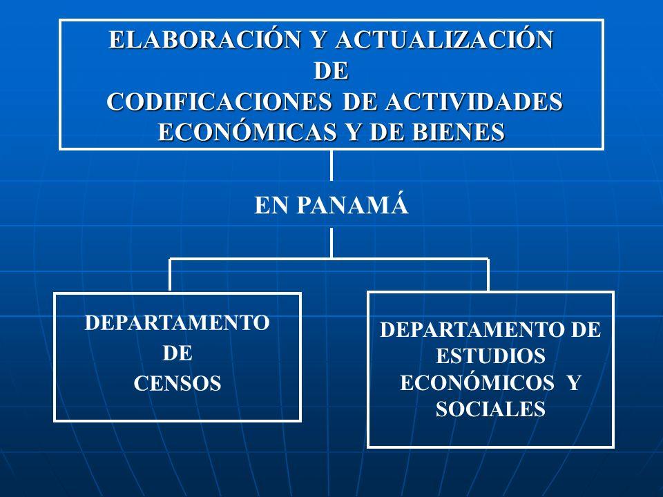 ELABORACIÓN Y ACTUALIZACIÓN DE CODIFICACIONES DE ACTIVIDADES ECONÓMICAS Y DE BIENES DEPARTAMENTO DE CENSOS DEPARTAMENTO DE ESTUDIOS ECONÓMICOS Y SOCIA