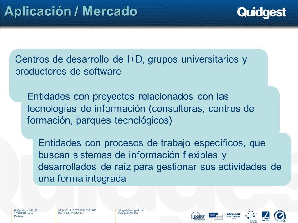 Aplicación / Mercado Centros de desarrollo de I+D, grupos universitarios y productores de software Entidades con proyectos relacionados con las tecnol