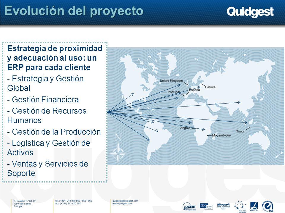 Evolución del proyecto Estrategia de proximidad y adecuación al uso: un ERP para cada cliente - Estrategia y Gestión Global - Gestión Financiera - Gestión de Recursos Humanos - Gestión de la Producción - Logística y Gestión de Activos - Ventas y Servicios de Soporte