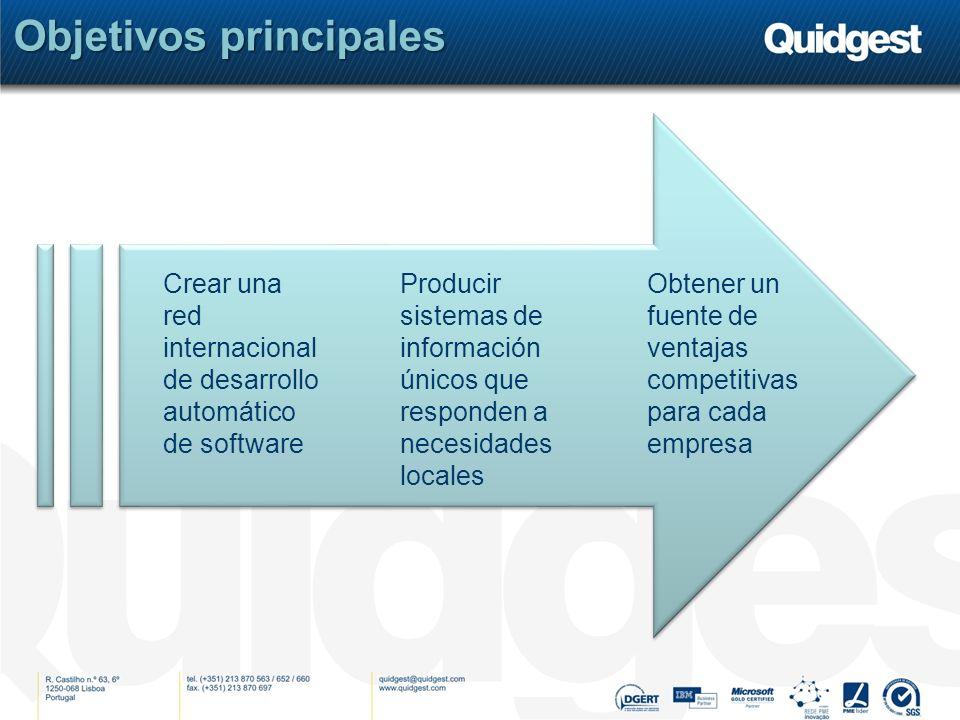 Objetivos principales Obtener un fuente de ventajas competitivas para cada empresa Crear una red internacional de desarrollo automático de software Producir sistemas de información únicos que responden a necesidades locales