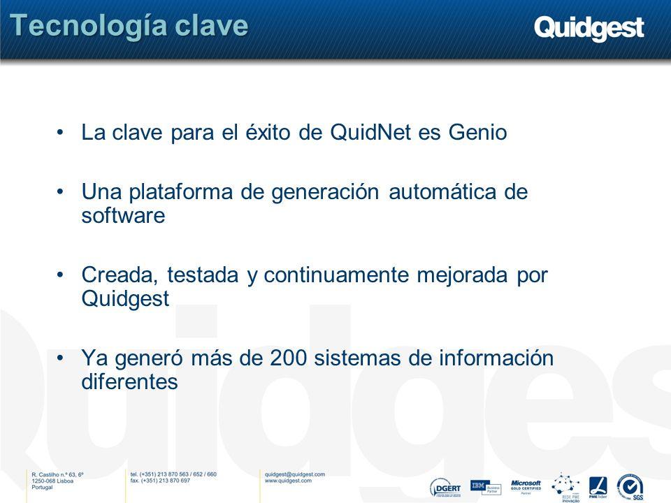 Tecnología clave La clave para el éxito de QuidNet es Genio Una plataforma de generación automática de software Creada, testada y continuamente mejora