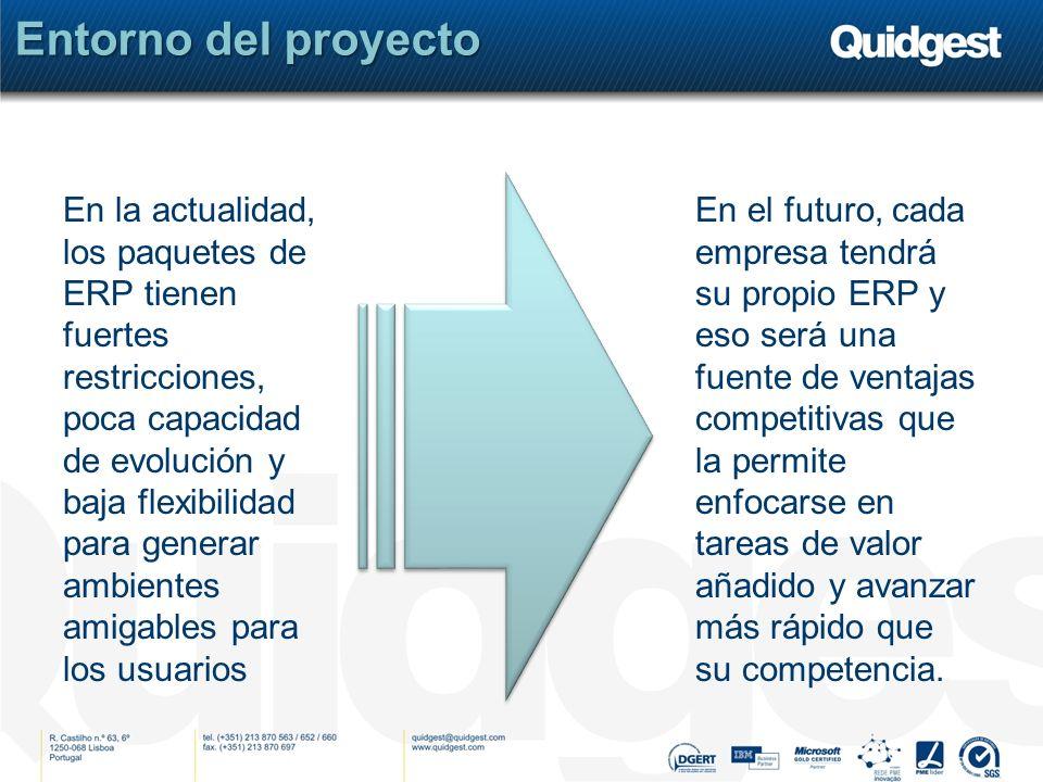 Entorno del proyecto En la actualidad, los paquetes de ERP tienen fuertes restricciones, poca capacidad de evolución y baja flexibilidad para generar