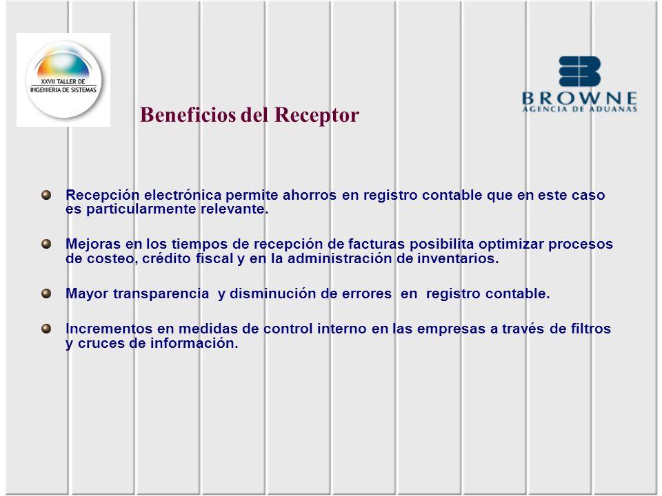Recepción electrónica permite ahorros en registro contable que en este caso es particularmente relevante. Mejoras en los tiempos de recepción de factu