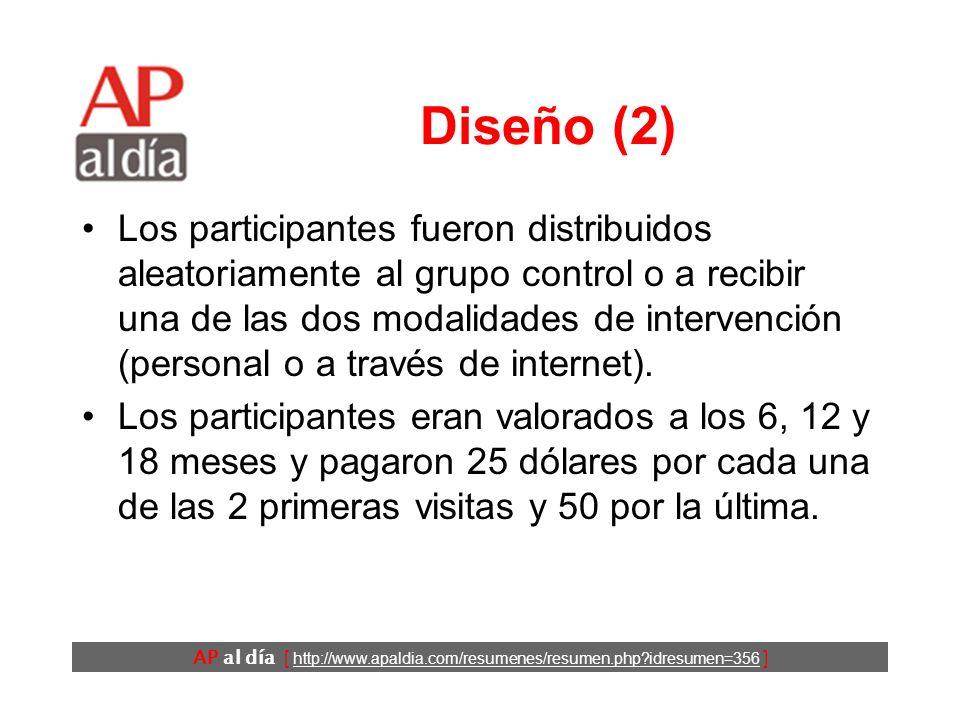 AP al día [ http://www.apaldia.com/resumenes/resumen.php idresumen=356 ] Diseño (1) Ensayo clínico.