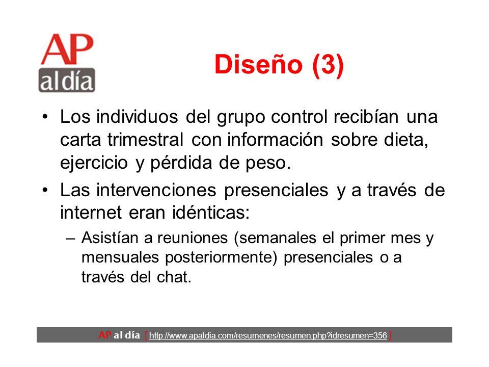AP al día [ http://www.apaldia.com/resumenes/resumen.php?idresumen=356 ] Diseño (2) Los participantes fueron distribuidos aleatoriamente al grupo control o a recibir una de las dos modalidades de intervención (personal o a través de internet).