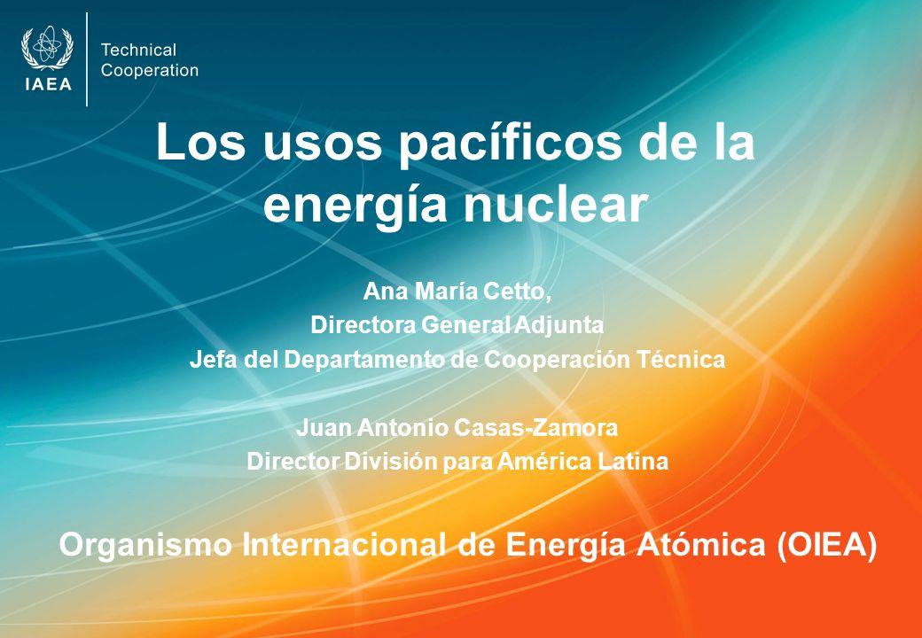 Los usos pacíficos de la energía nuclear Organismo Internacional de Energía Atómica (OIEA) Ana María Cetto, Directora General Adjunta Jefa del Departa