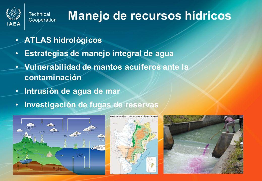 Manejo de recursos hídricos ATLAS hidrológicos Estrategias de manejo integral de agua Vulnerabilidad de mantos acuíferos ante la contaminación Intrusi