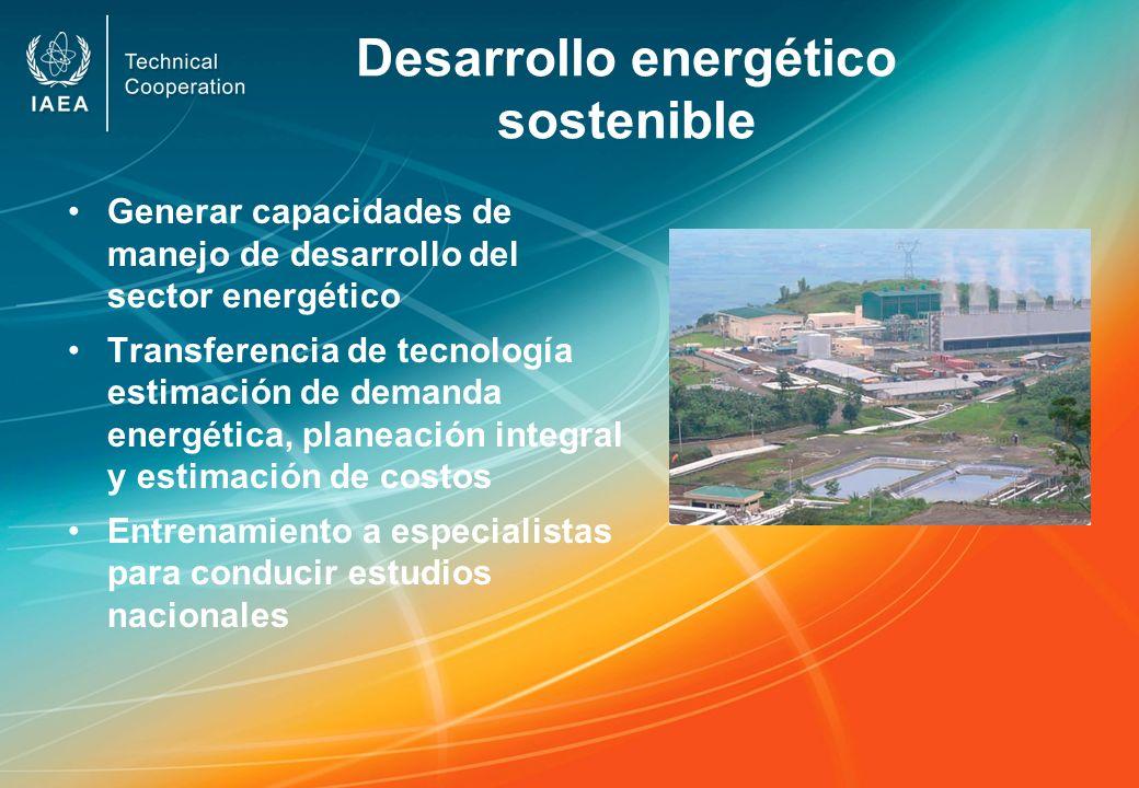 Desarrollo energético sostenible Generar capacidades de manejo de desarrollo del sector energético Transferencia de tecnología estimación de demanda e