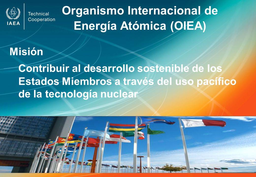 Organismo Internacional de Energía Atómica (OIEA) Misión Contribuir al desarrollo sostenible de los Estados Miembros a través del uso pacífico de la t