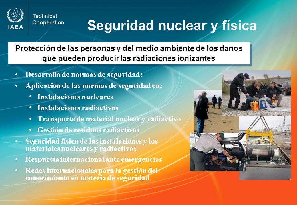 Seguridad nuclear y física Desarrollo de normas de seguridad: Aplicación de las normas de seguridad en: Instalaciones nucleares Instalaciones radiacti