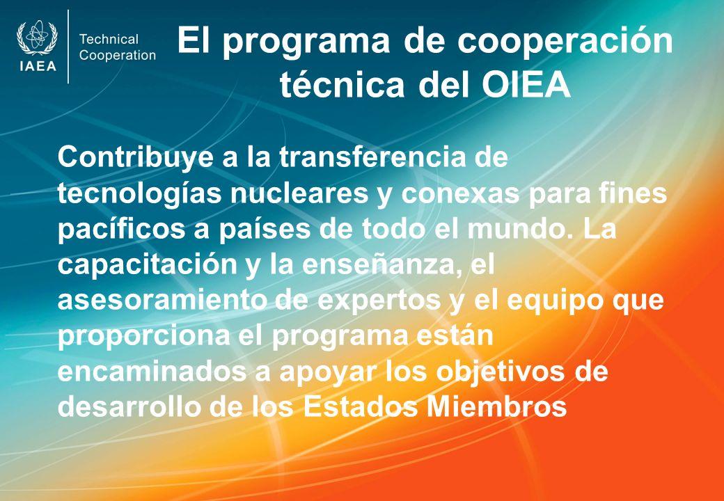 El programa de cooperación técnica del OIEA Contribuye a la transferencia de tecnologías nucleares y conexas para fines pacíficos a países de todo el