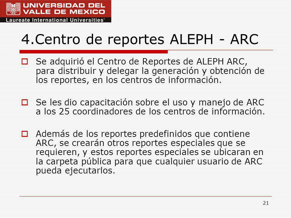 21 4.Centro de reportes ALEPH - ARC Se adquirió el Centro de Reportes de ALEPH ARC, para distribuir y delegar la generación y obtención de los reportes, en los centros de información.