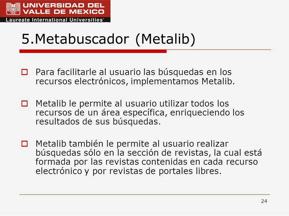 24 5.Metabuscador (Metalib) Para facilitarle al usuario las búsquedas en los recursos electrónicos, implementamos Metalib.