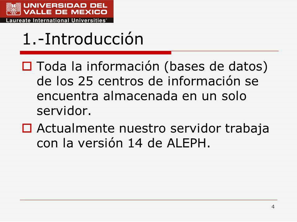 4 1.-Introducción Toda la información (bases de datos) de los 25 centros de información se encuentra almacenada en un solo servidor.
