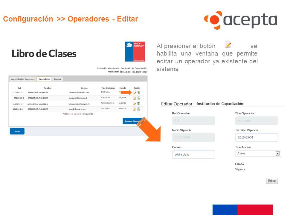 Visualización Configuración >> Operadores - Editar Al presionar el botón se habilita una ventana que permite editar un operador ya existente del siste