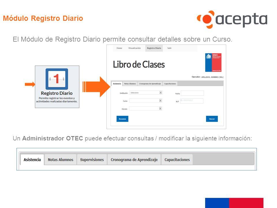 Visualización El Módulo de Registro Diario permite consultar detalles sobre un Curso. Módulo Registro Diario Un Administrador OTEC puede efectuar cons