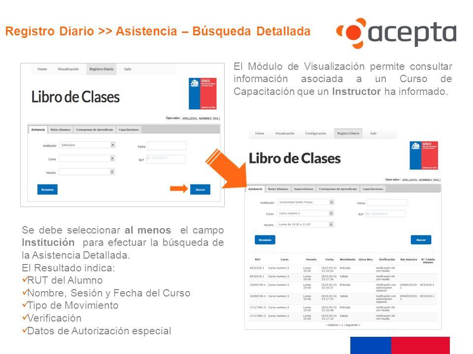 Visualización El Módulo de Visualización permite consultar información asociada a un Curso de Capacitación que un Instructor ha informado. Se debe sel