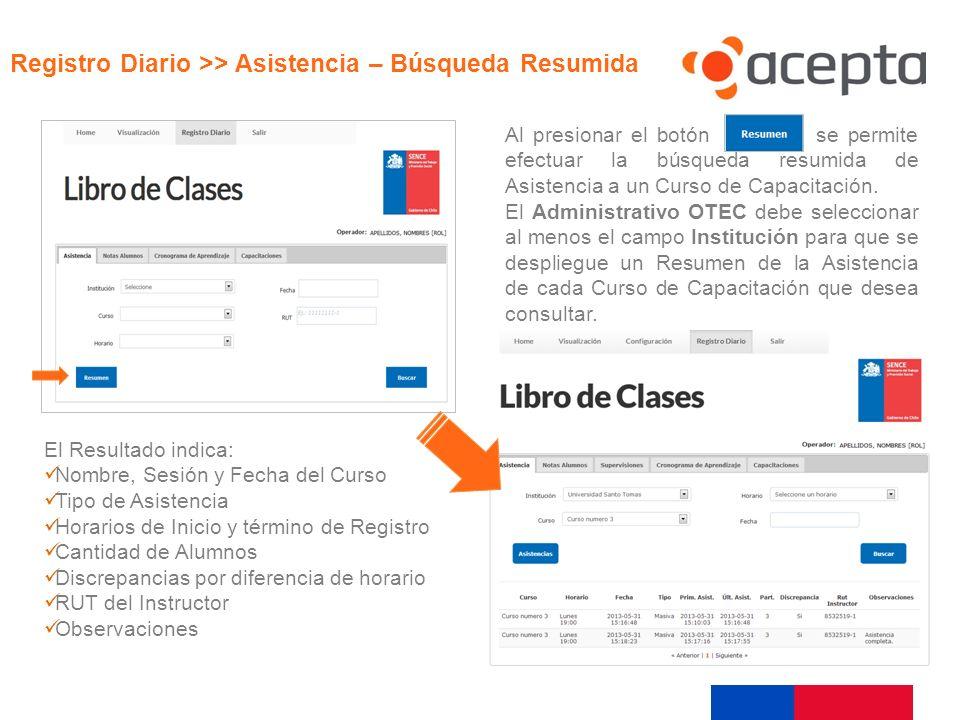 Visualización Al presionar el botón se permite efectuar la búsqueda resumida de Asistencia a un Curso de Capacitación. El Administrativo OTEC debe sel