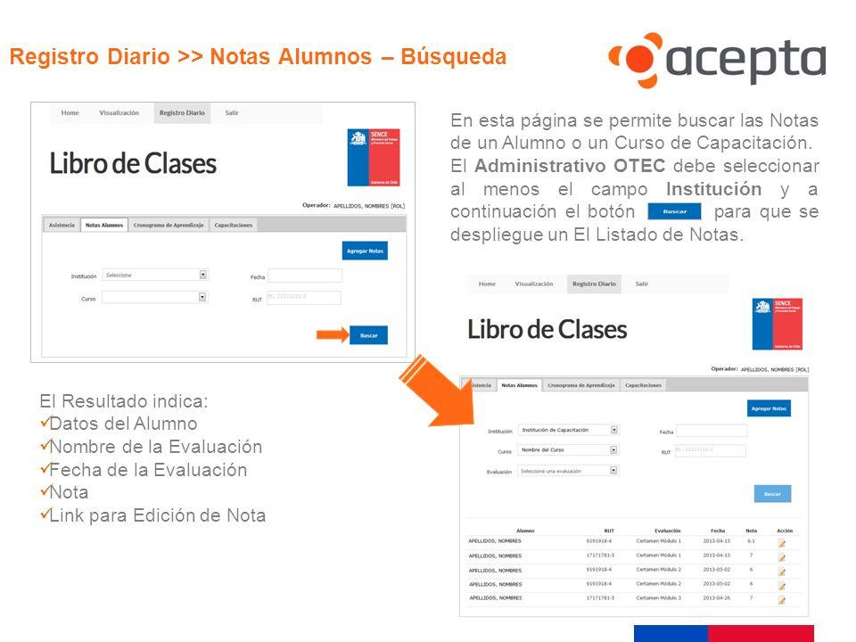 Visualización En esta página se permite buscar las Notas de un Alumno o un Curso de Capacitación. El Administrativo OTEC debe seleccionar al menos el