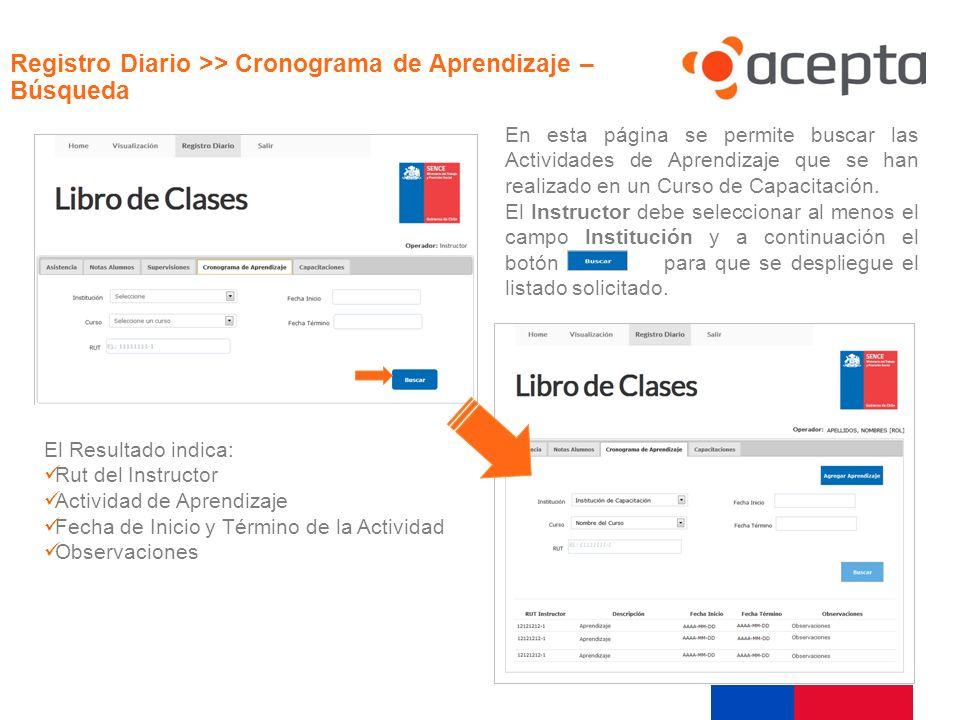 Visualización En esta página se permite buscar las Actividades de Aprendizaje que se han realizado en un Curso de Capacitación. El Instructor debe sel