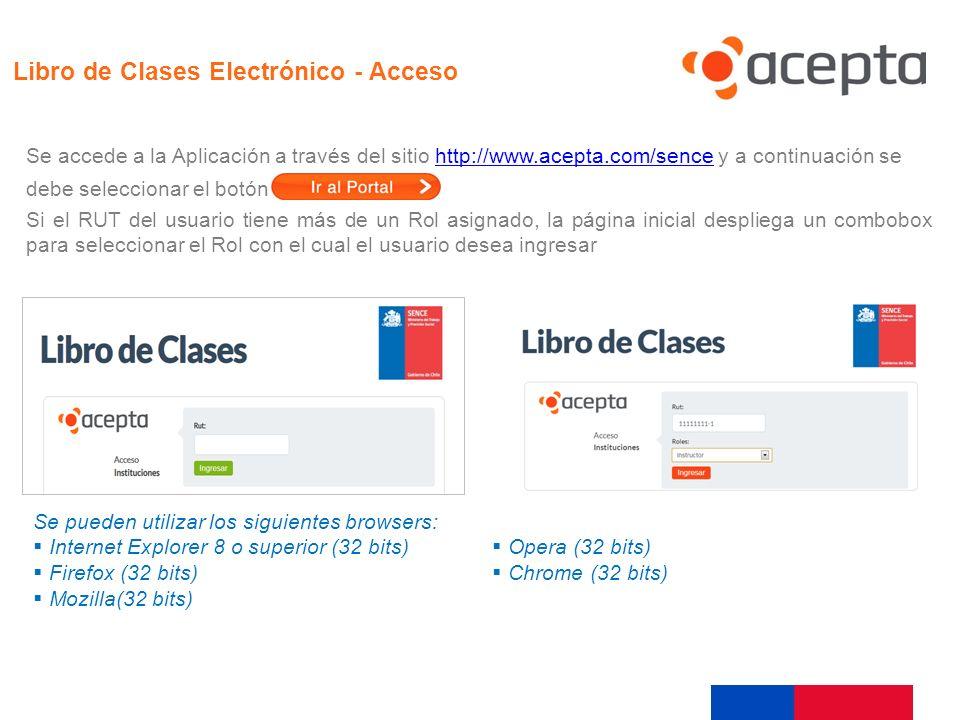 Acceso Libro de Clases Electrónico - Acceso Se accede a la Aplicación a través del sitio http://www.acepta.com/sence y a continuación sehttp://www.ace