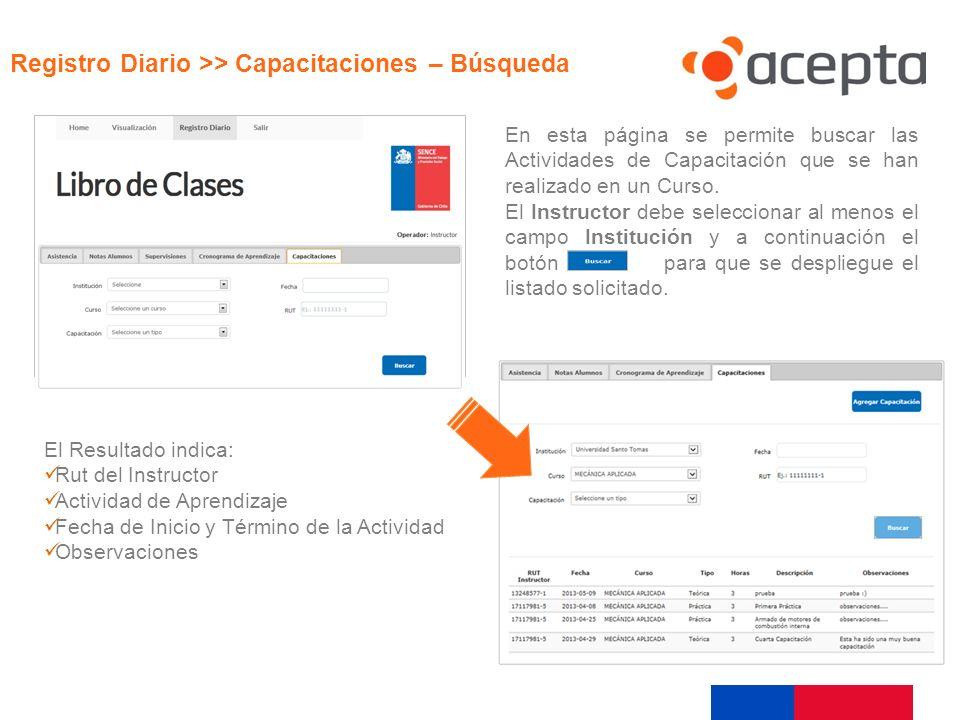 En esta página se permite buscar las Actividades de Capacitación que se han realizado en un Curso. El Instructor debe seleccionar al menos el campo In