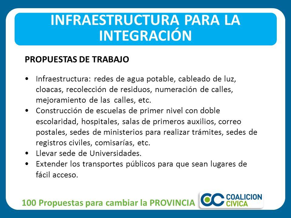 100 Propuestas para cambiar la PROVINCIA PROPUESTAS DE TRABAJO Infraestructura: redes de agua potable, cableado de luz, cloacas, recolección de residuos, numeración de calles, mejoramiento de las calles, etc.